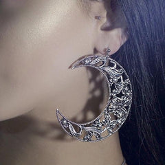 ECLIPSE. Huge Floral Crescent Earrings