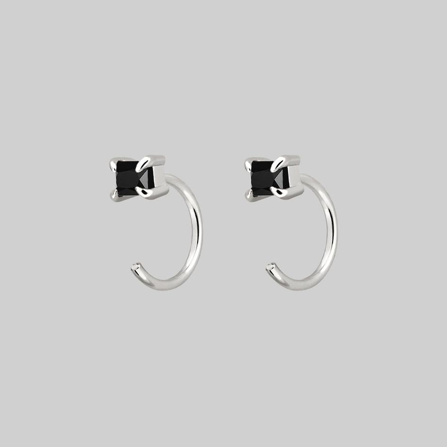 black spinel gemstone huggie hoop earrings