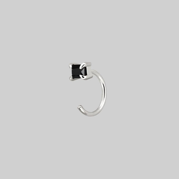 Rectangle Black Spinel Huggie Hoop Earrings - Silver