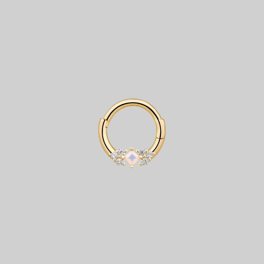 opal and diamond septum ring gold
