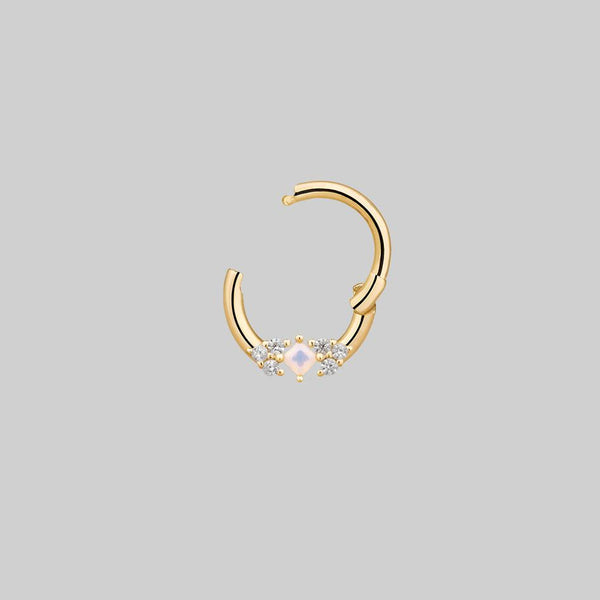 diamond and opal gemstone nose ring