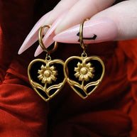 heart flower hoop earrings gold