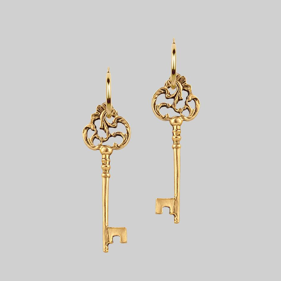 VERONA. Skeleton Key Earrings - Gold