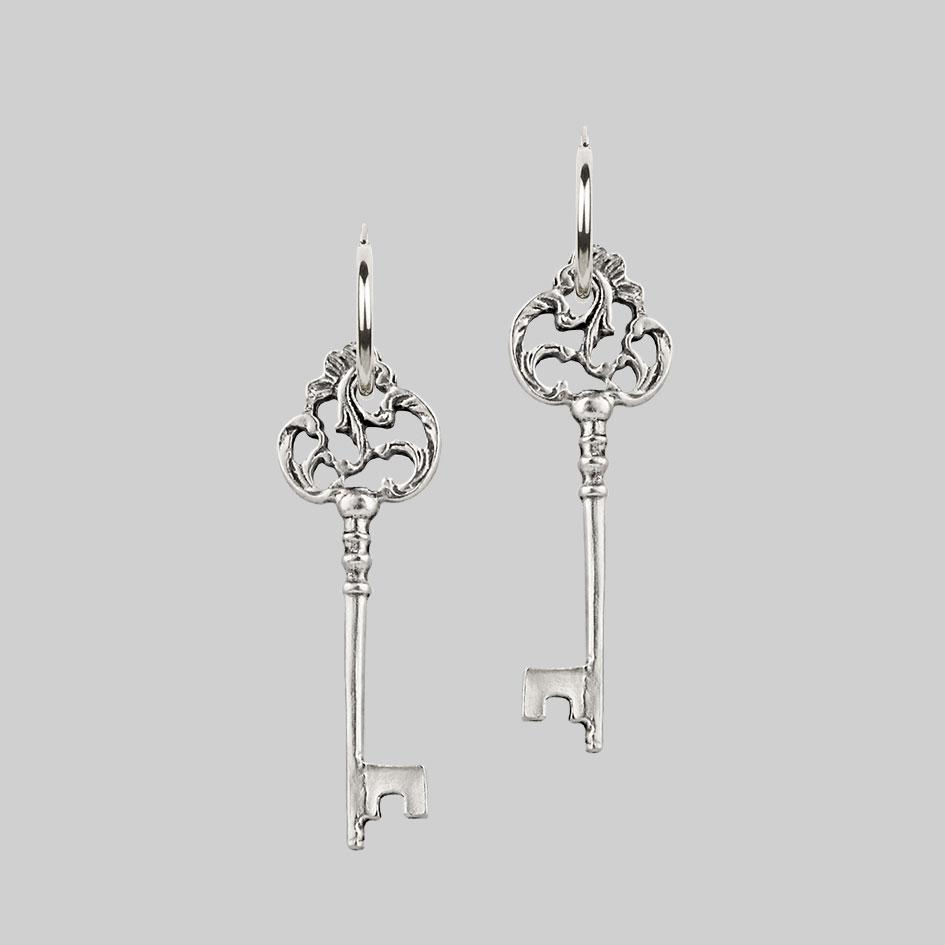 VERONA. Skeleton Key Earrings - Silver