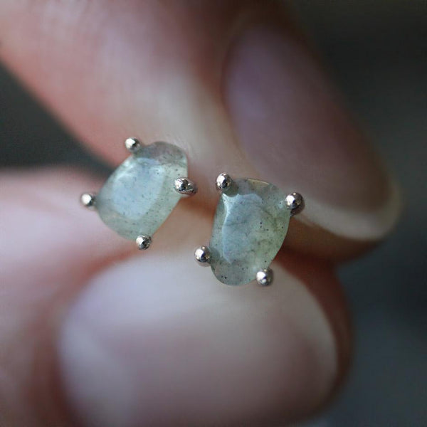 RUNE. Labradorite Slice Silver Earrings