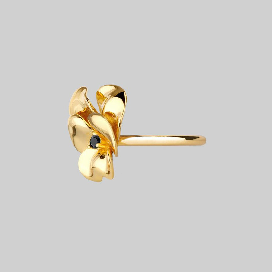 gold pansy flower ring