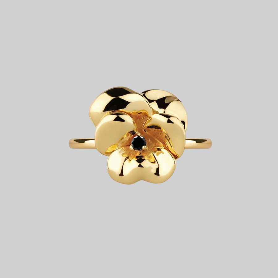 large pansy flower gold ring