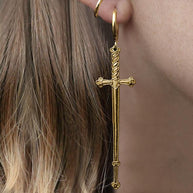 large gold sword earrings