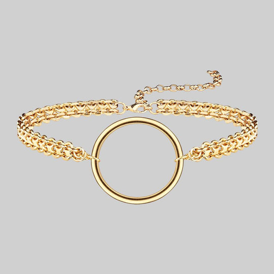 PARADOX. Oversized Ring Chain Choker - Gold