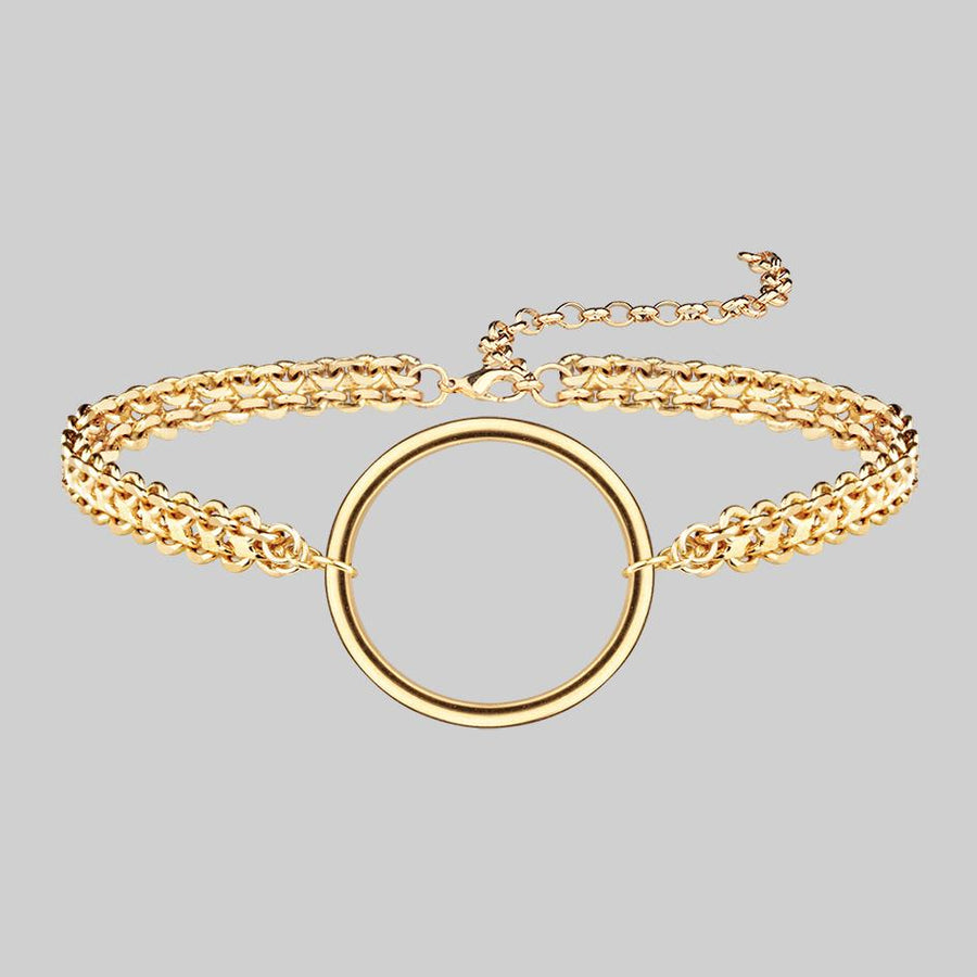 thick gold choker with ring