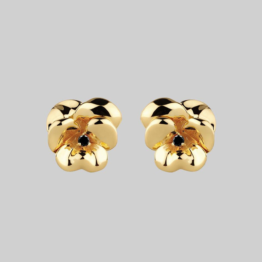 large gold pansy flower stud earrings