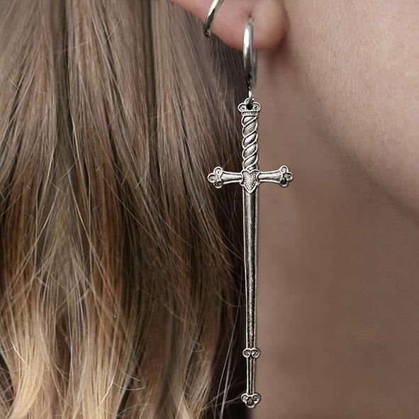 large silver sword earrings
