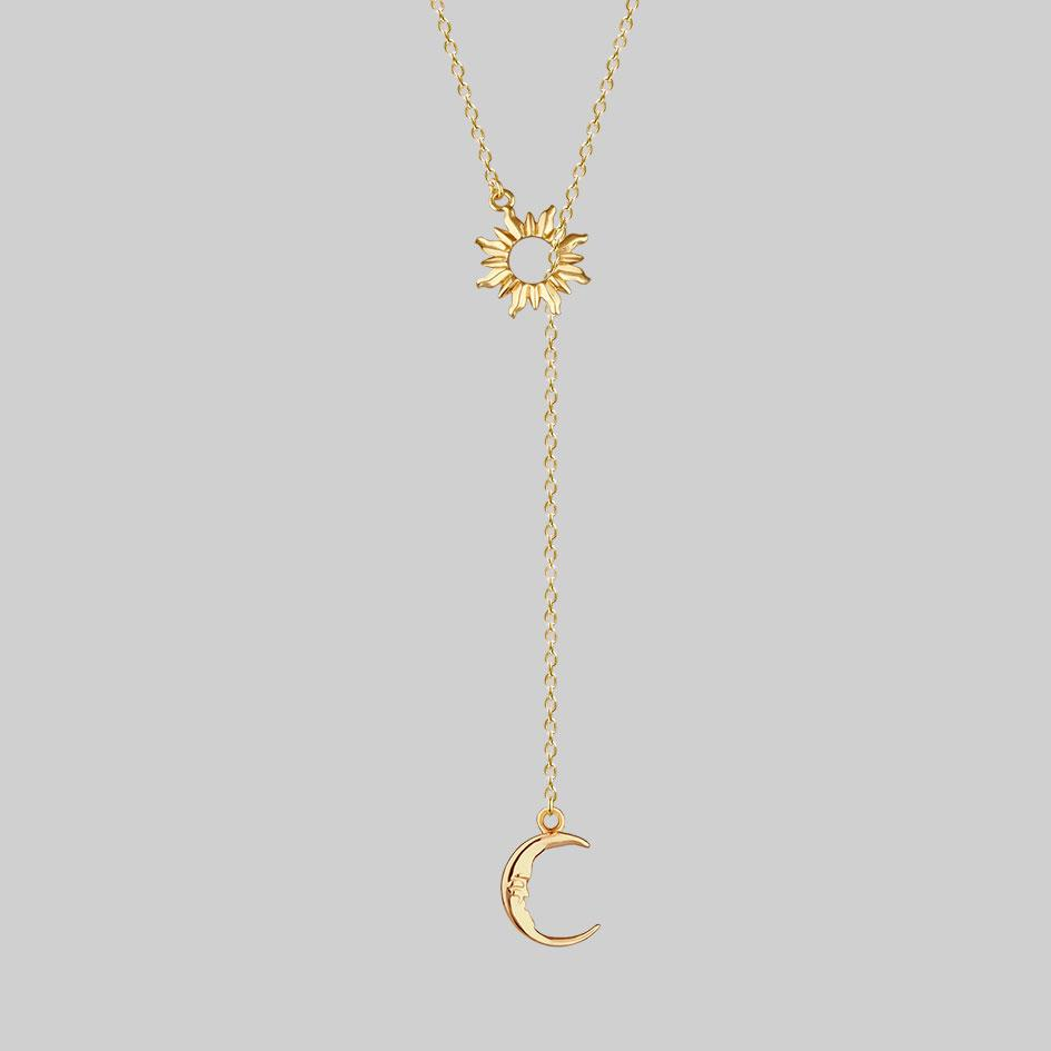 gold sun and moon y-shape necklace