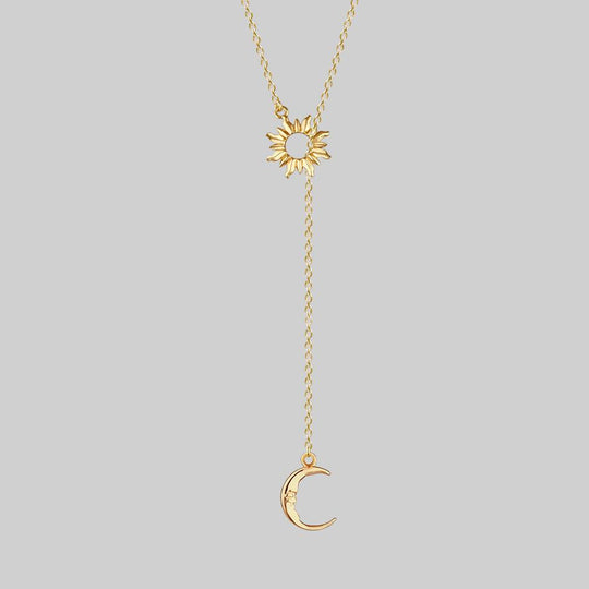SOLSTICE. Sun & Moon Lariat Necklace - Gold