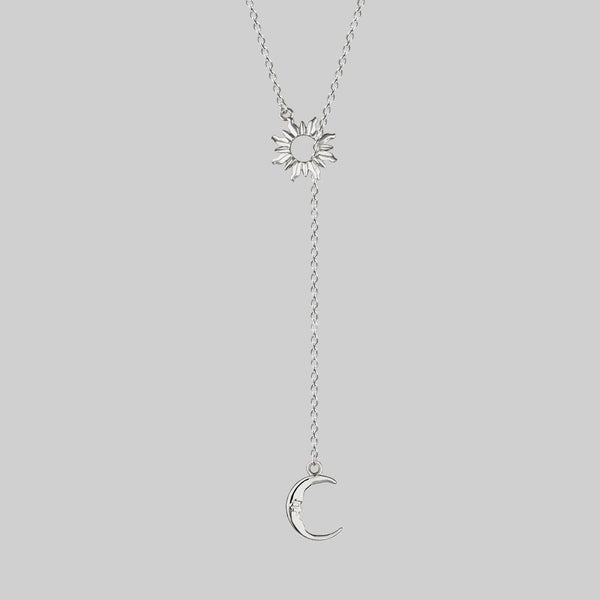 SOLSTICE. Sun & Moon Lariat Necklace - Silver