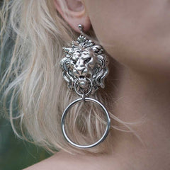 ANWAR. Lion Knocker Earrings - Silver