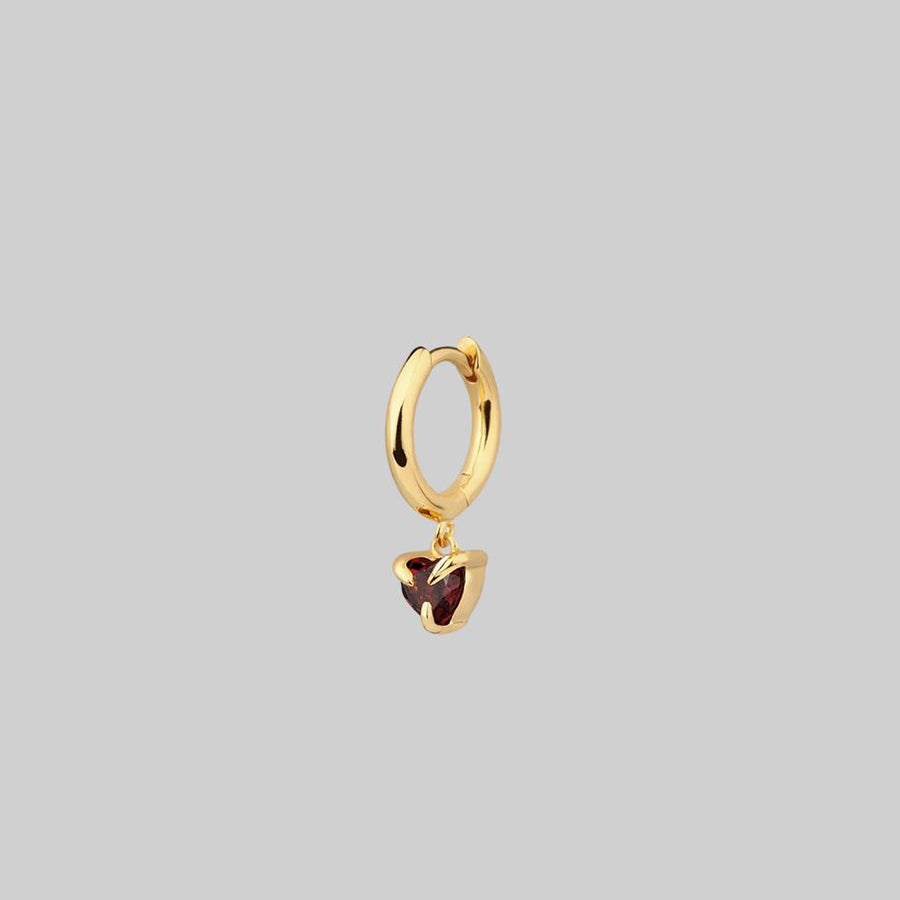 garnet heart gold hoop earring