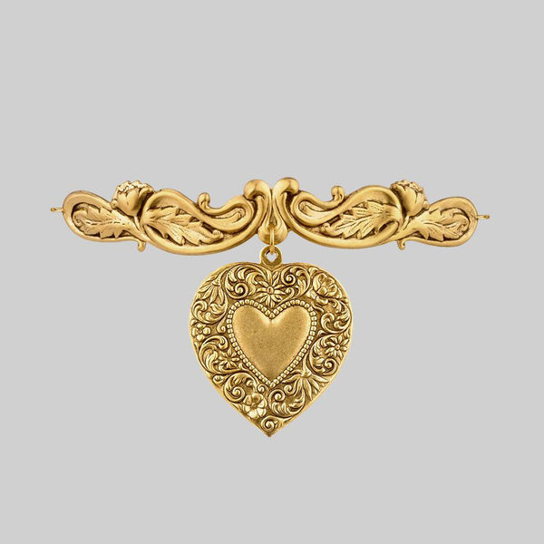 gold heart statement choker