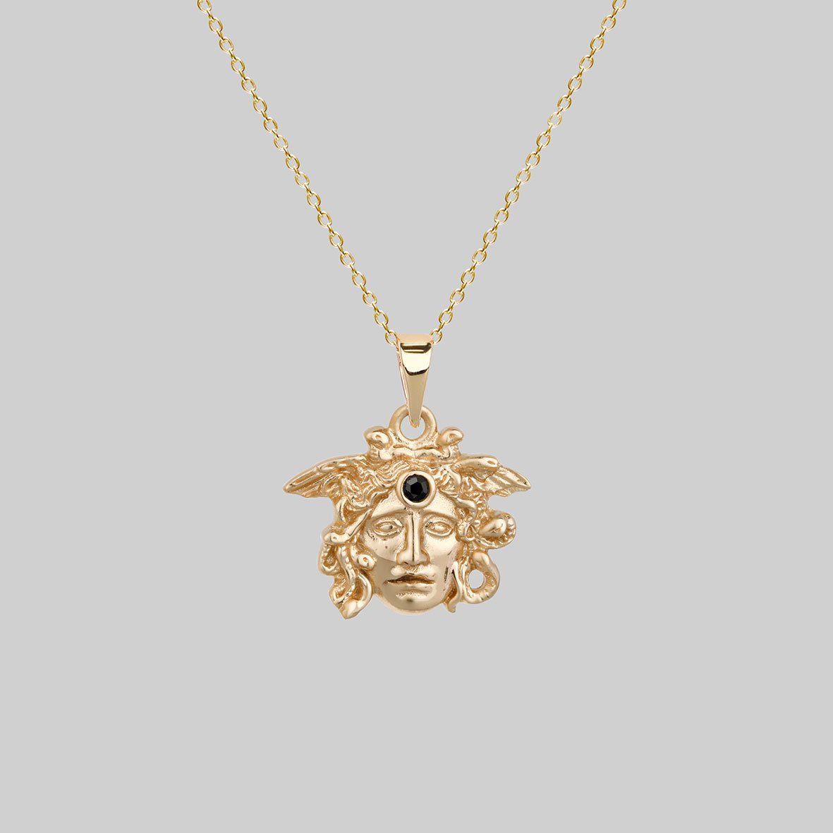 gold plated medusa necklace