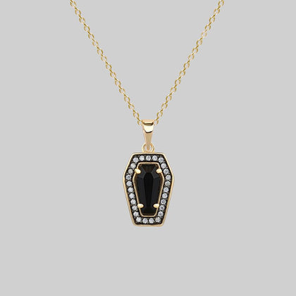 MORI. Black Onyx & Crystal Coffin Gold Necklace