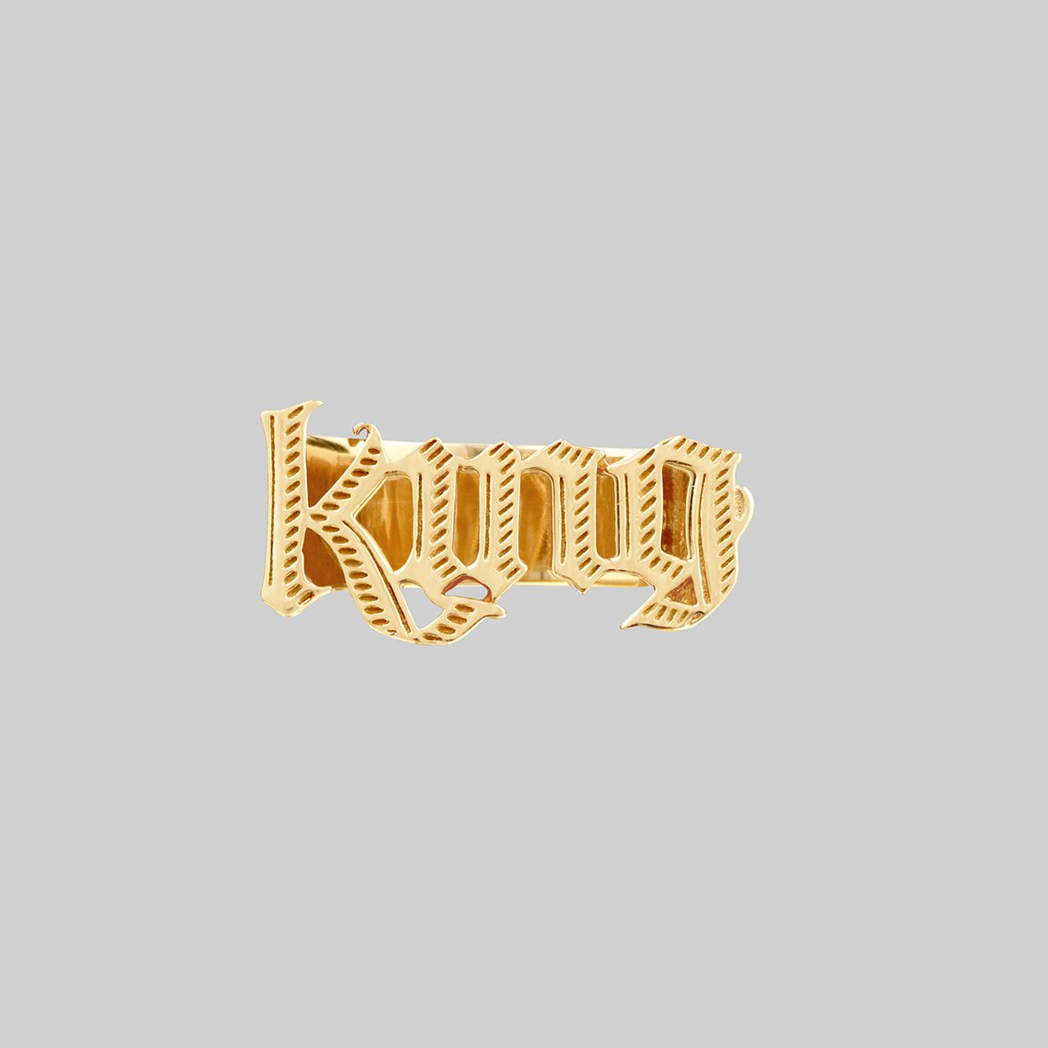 large king word ring gold