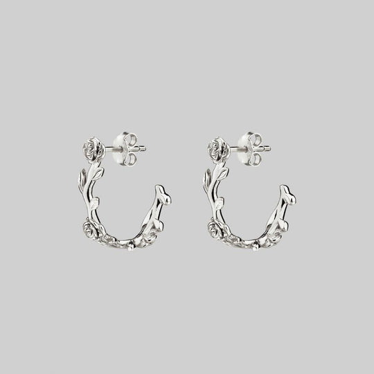SARAH. Rose Foliage Hoops - Silver