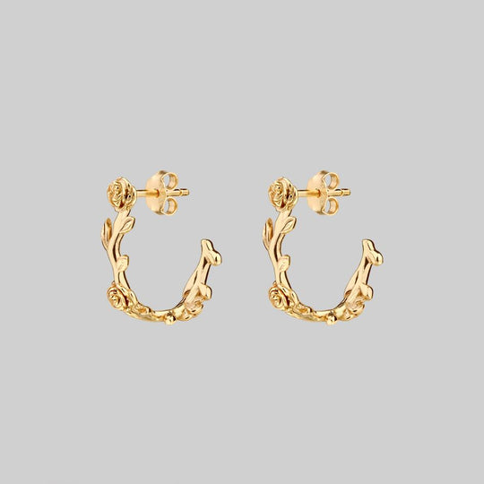 SARAH. Rose Foliage Hoops - Gold