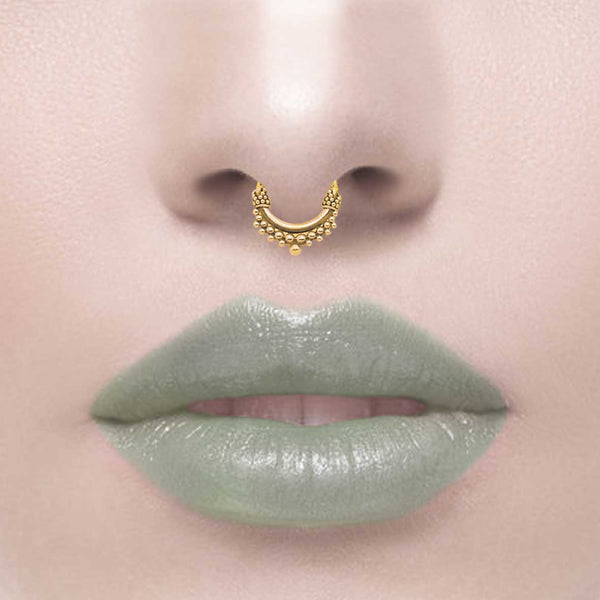 ANNORA MINI. Gold Tibetan Septum Ring - Piercing