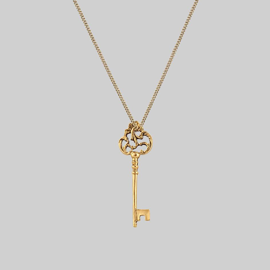gold antique key necklace