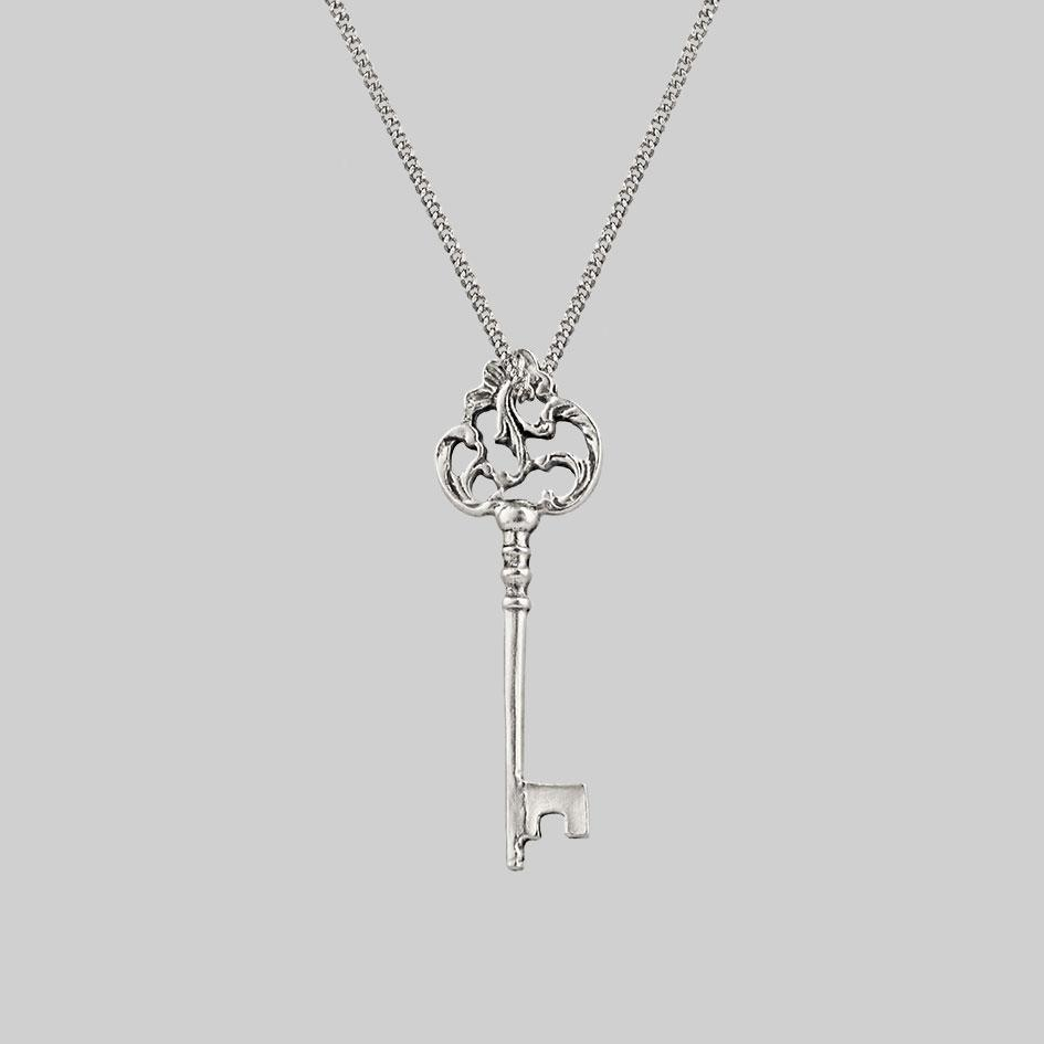 silver antique key necklace