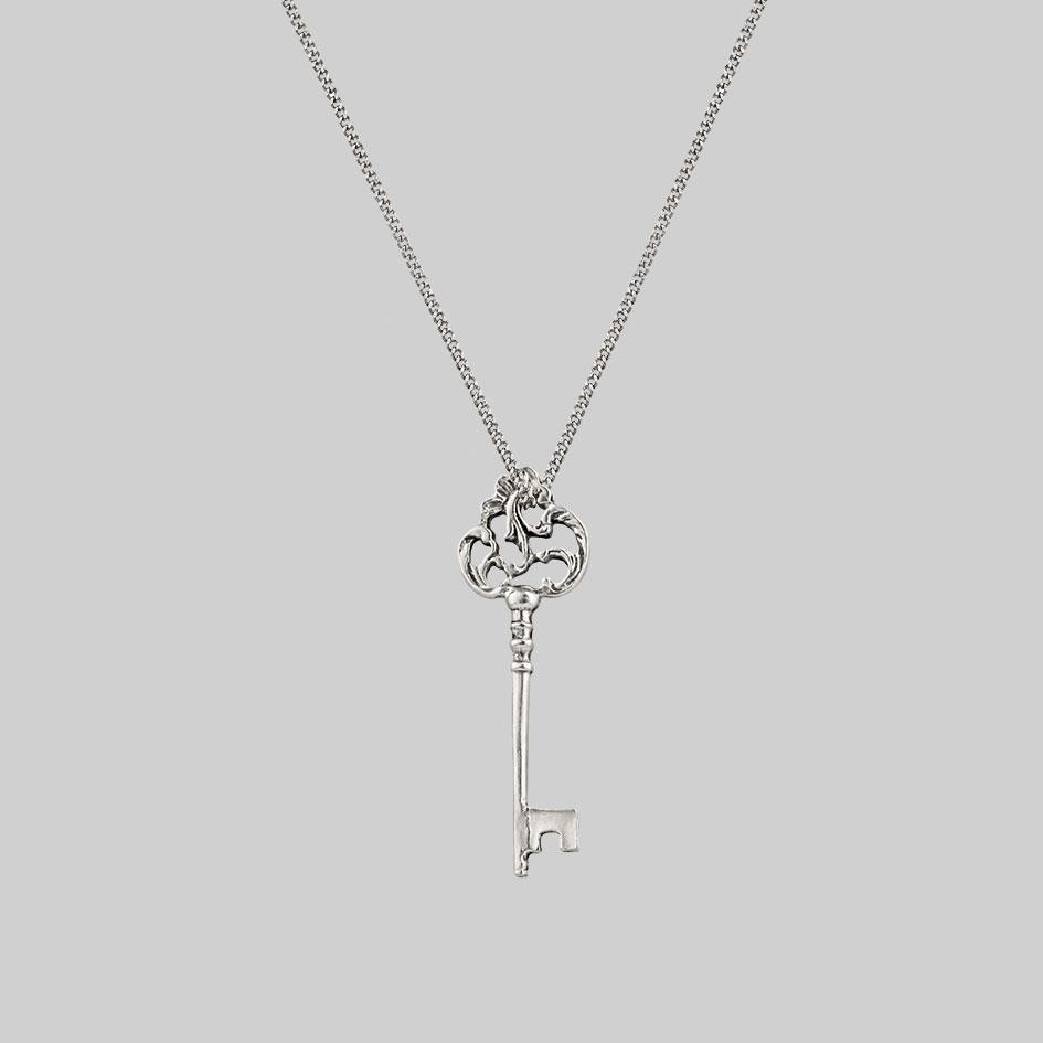 dark detailed key necklace