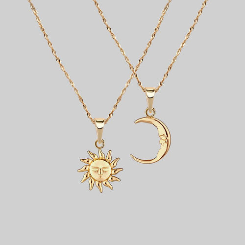 mismatch sun and moon layering necklaces