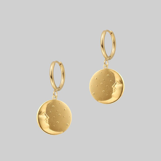 DARK HOUR. Mini Moon Crescent Hoop Earrings - Gold