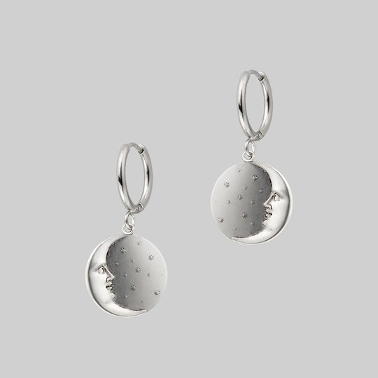 DARK HOUR. Mini Moon Crescent Hoop Earrings - Silver
