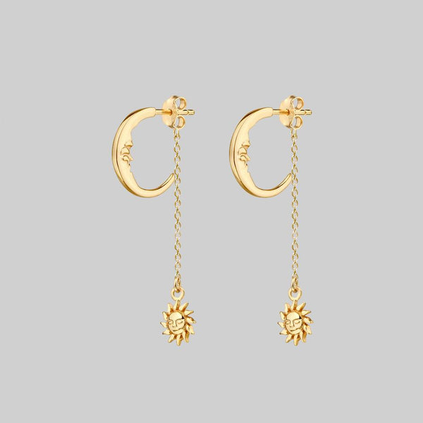 moon and suspending sun earrings gold