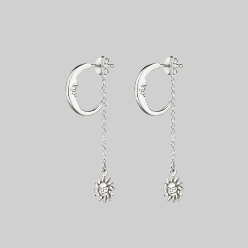moon and suspending sun earrings silver