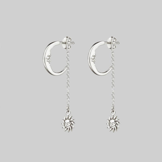DAWN. Man in the Moon & Star Earrings - Silver