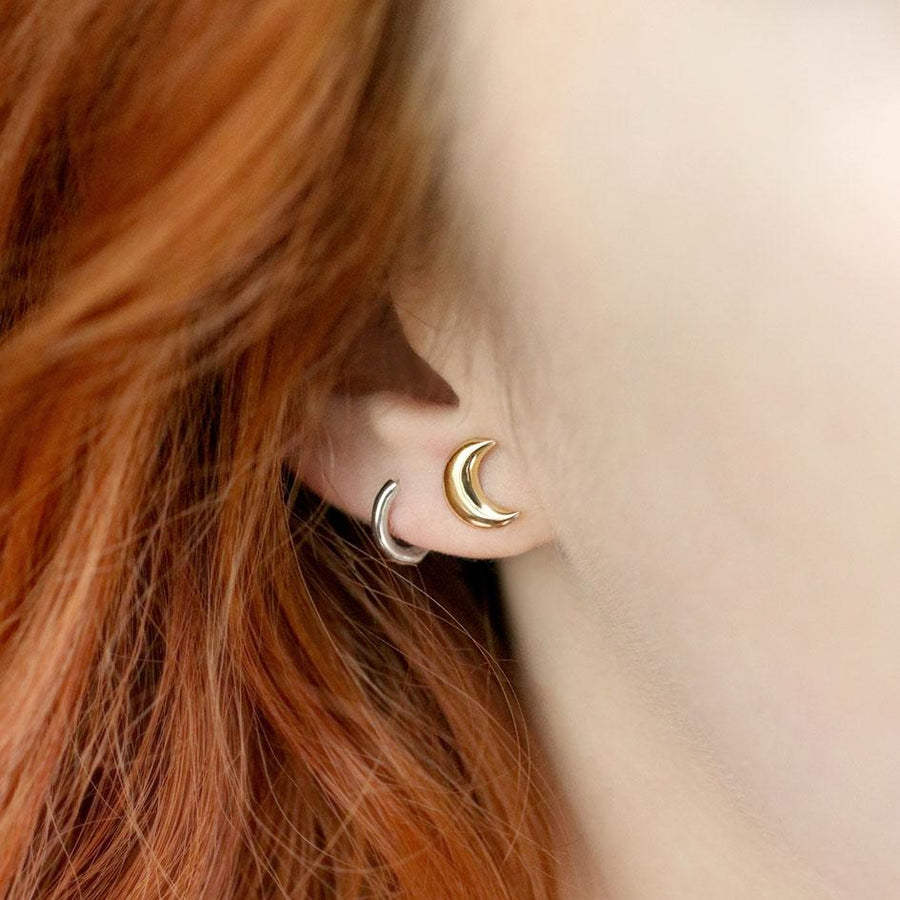 gold moon stud earring