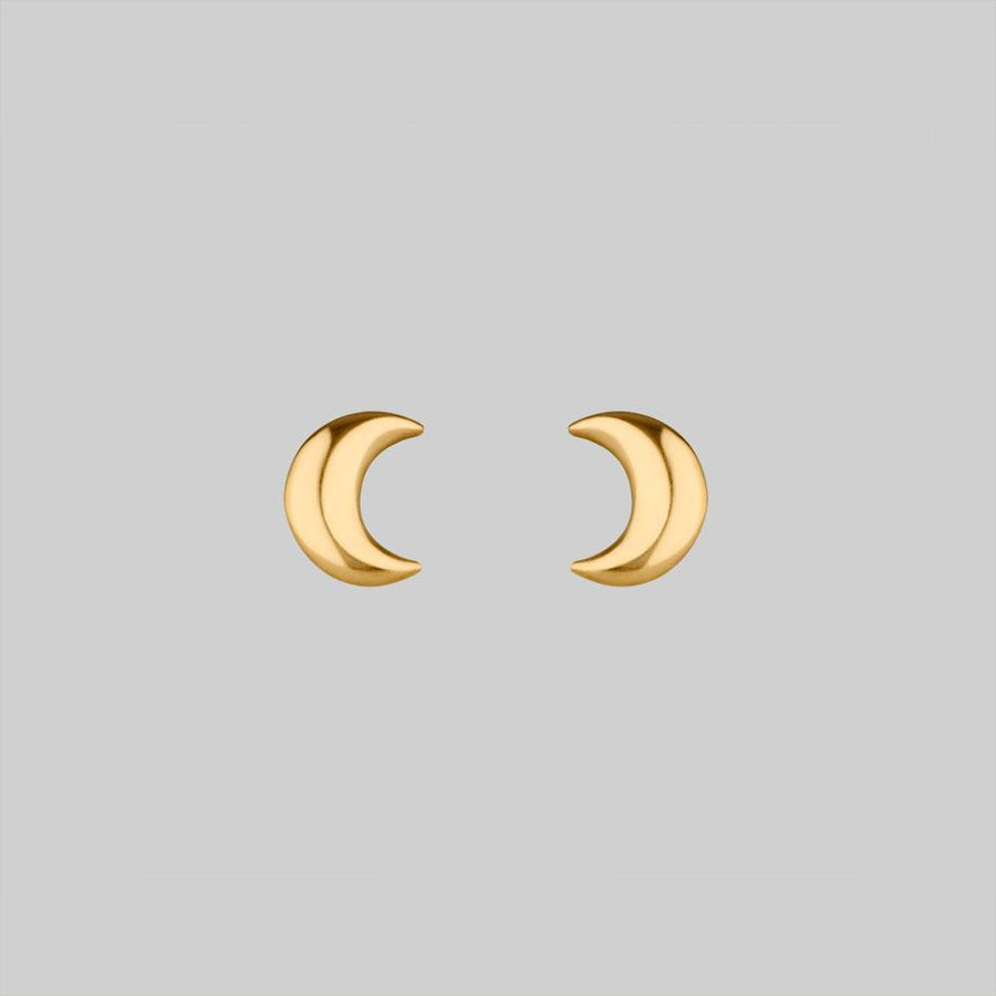 9K gold moon stud earrings