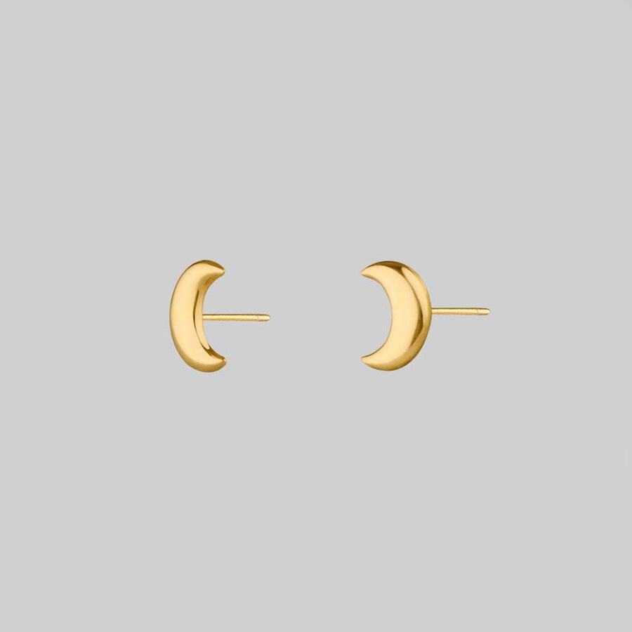 curved moon crescent stud earrings