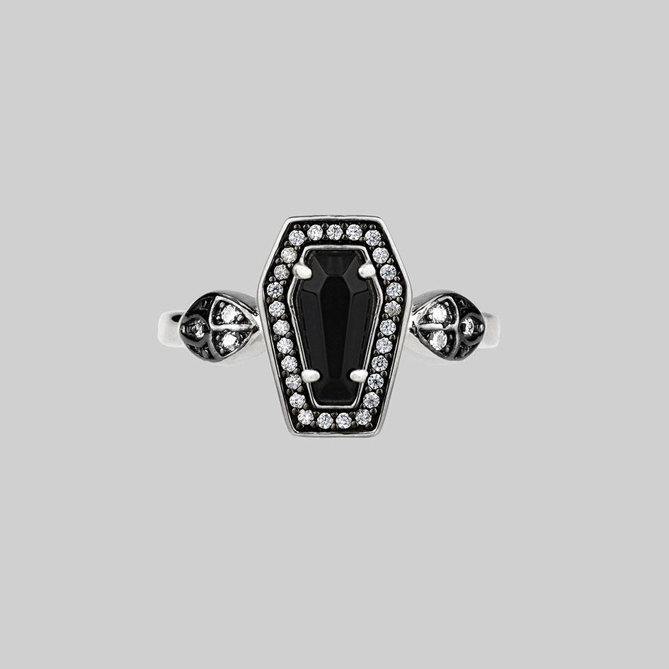 Black Onyx and Crystal Coffin Silver Ring