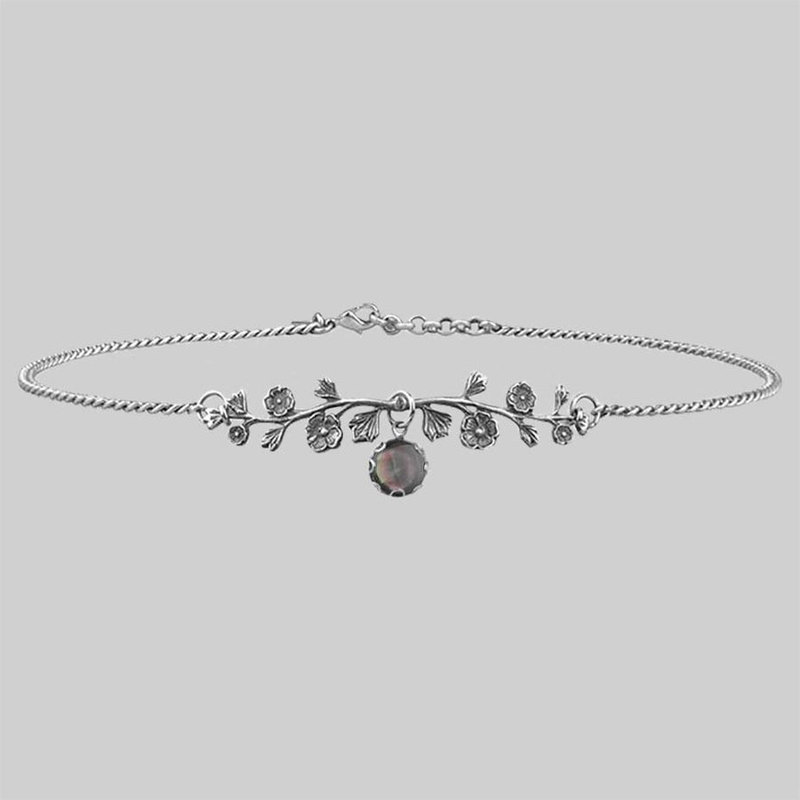 floral choker with mother of pearl gemstone