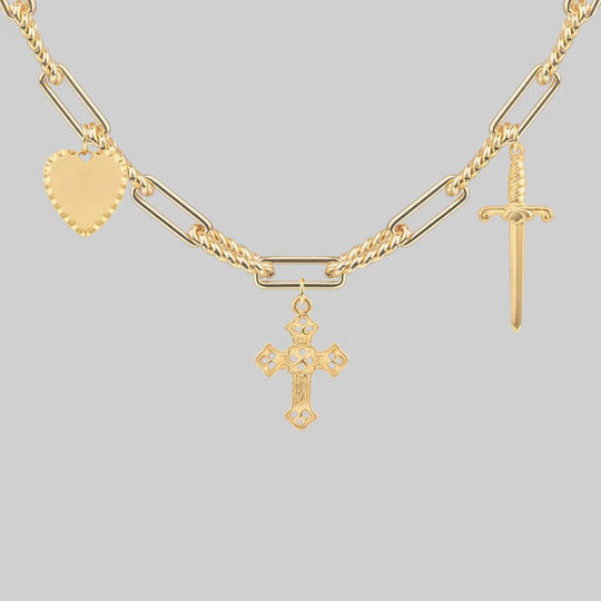MANIFEST. Multi Charm Chain Necklace - Gold