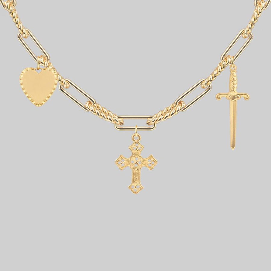 gold gothic multi charm necklace