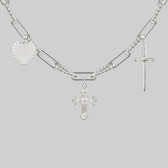 MANIFEST. Multi Charm Chain Necklace - Silver