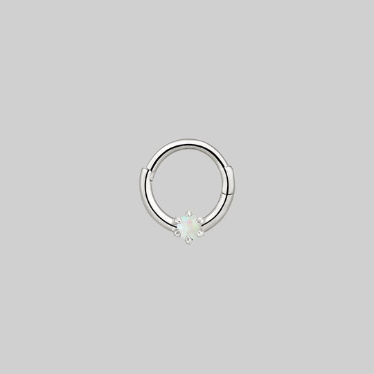 NEBULA. Opal Silver Clicker Ring - Septum