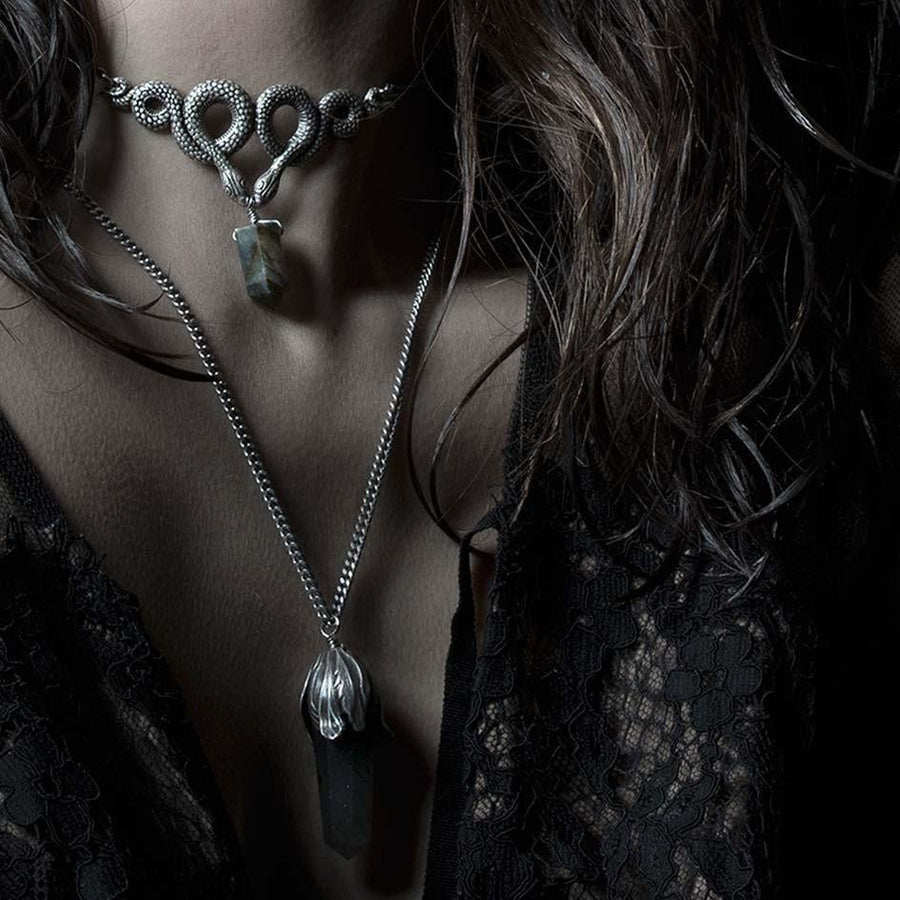 Necklace - A DARK LURE. Snake & Black Agate Gemstone Chain Choker