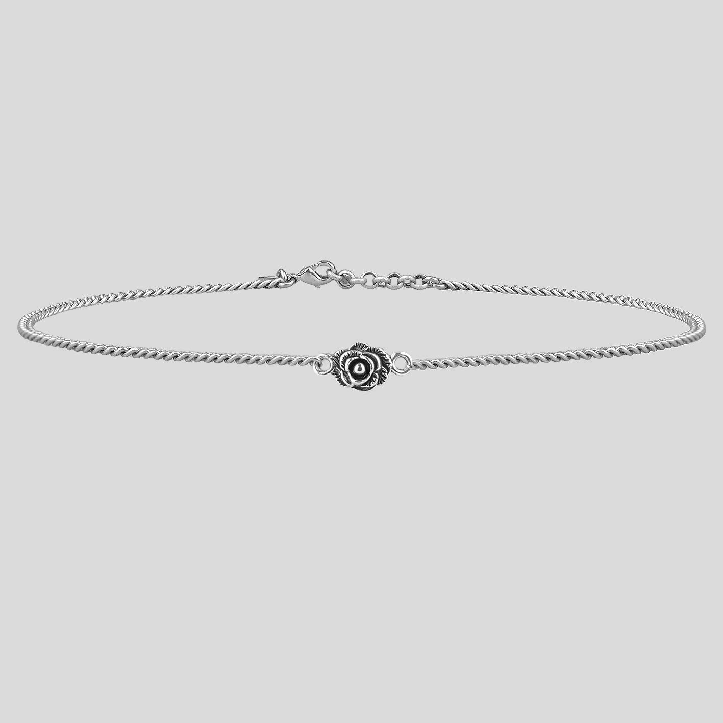 Necklace - MAE. Little Rose Silver Chain Choker