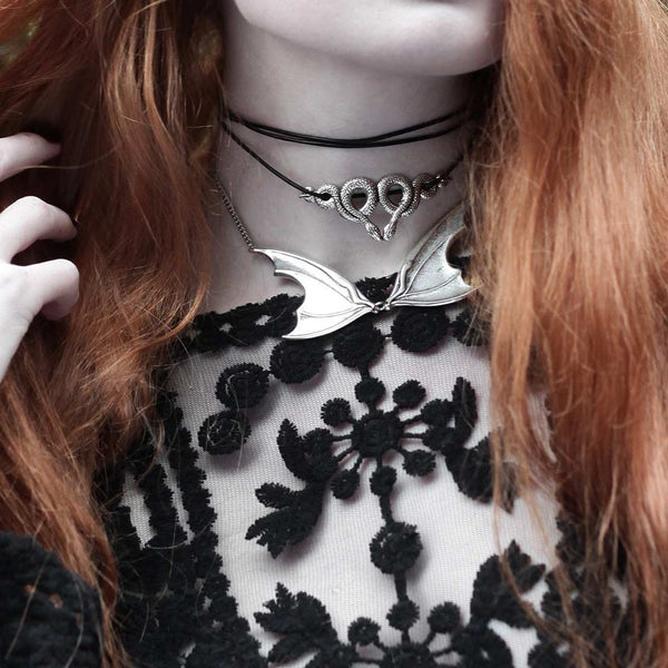 Necklace - SAMARA. Snake & Leather Wrap Choker