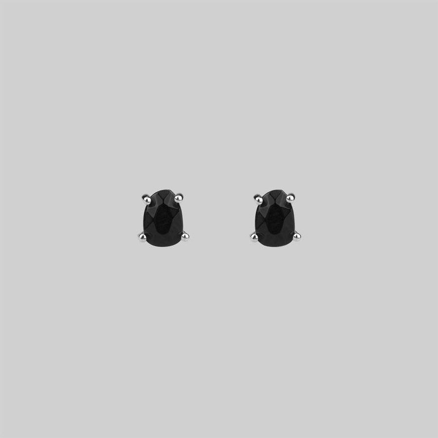 Onyx and silver stud earrings